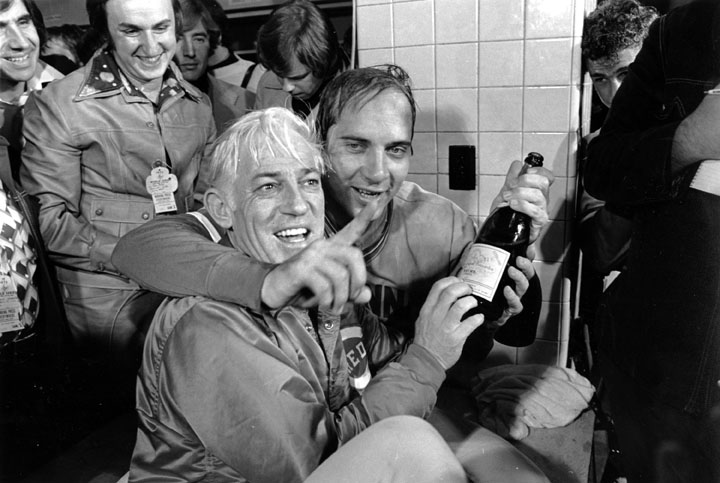 This Oct. 23, 1975, file photo shows Cincinnati Reds manager Sparky Anderson, left, and catcher Johnny Bench celebrating after defeating the Boston Red Sox to win the World Series at Fenway Park in Boston.
