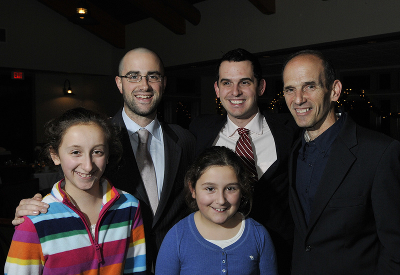 Gov. John Baldacci, right, along with nephews and nieces including, left to right, Robert Baldacci of Waltham, Mass.; Andy Baldacci of Bangor; Caroline Baldacci 11, of Bangor, and Olyvia Baldacci, 9, of Bangor.