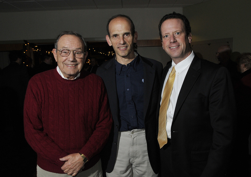 Gov. John Baldacci, center, his cousins Paul Mitchell, left, of Waterville and Billy Mitchell, also of Waterville.