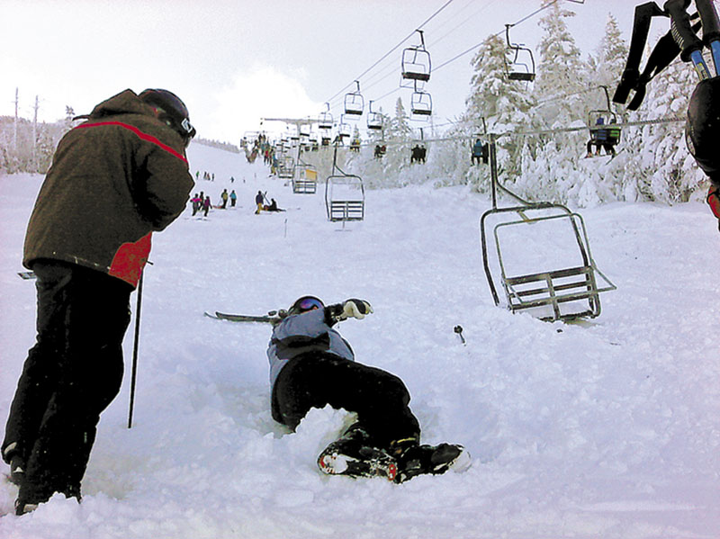 A skier attempts to recover after the cable derailed, sending riders plummeting to the ground. At least eight people were injured.