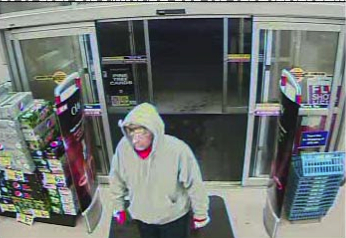 A white man, between 5-foot-8 and 5-foot-10, weighing about 160 pounds robbed the Rite Aid pharmacy in Biddeford last night. The man is seen here on surveillance footage walking into the store.