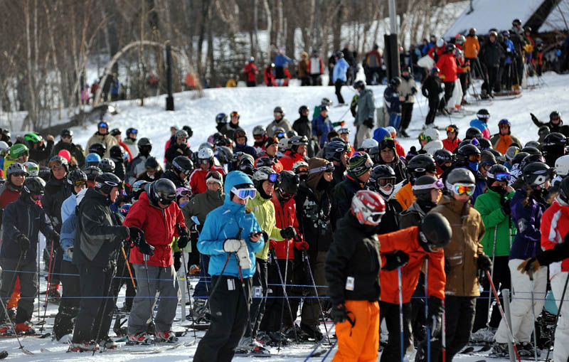 The chairlift derailment on Tuesday didn' t stop skiers from hitting the slopes on Wednesday at Sugarloaf in Carrabassett Valley.