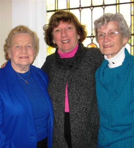 United Methodist Women, from left, Colleen Coates, Judy Ingram and Hope Stacey gear up for the Riverside United Methodist Church's annual Holly Berry Fair Saturday.