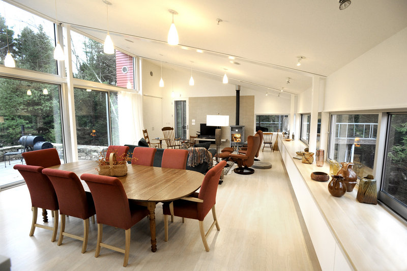 The Weirs' main living space is about 40 feet long, with the kitchen, dining and living areas open to one another.
