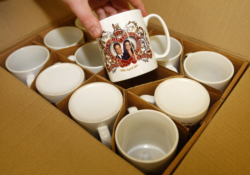 Collectible mugs commemorating the forthcoming marriage of Britain's Prince William to Kate Middleton are being produced at the Prince William Pottery Co. in Liverpool, England.