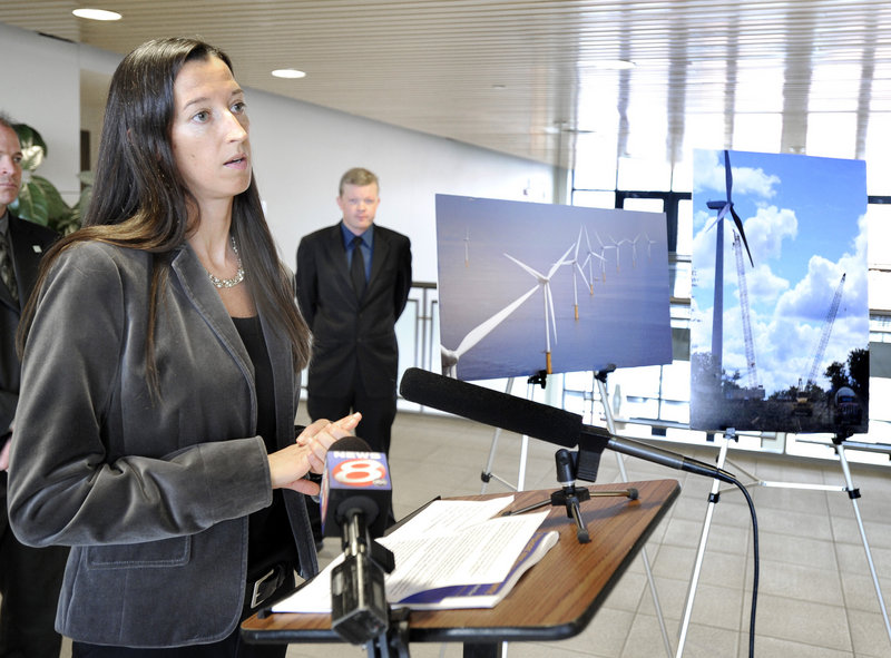 Catherine Bowes from the National Wildlife Federation speaks at a news conference on offshore wind power Wednesday in Portland.