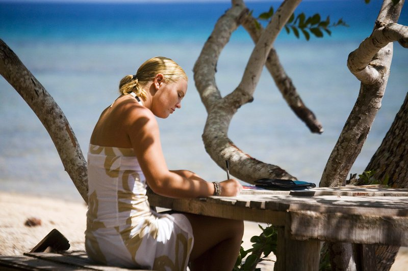 Raina Jensen, a 2002 Deering High School graduate, is seen in September 2006 on the Fijian island of Vorovoro.