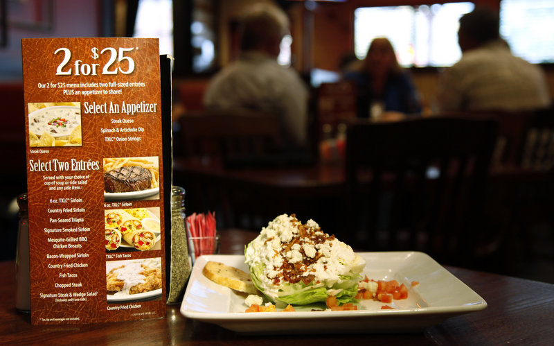 At Texas Land & Cattle, the two-for-$25 deal was supposed to be only for last February and March – but the discount remains available today, advertised on tabletop signs.