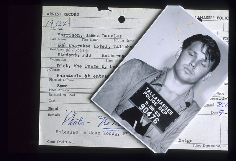 Jim Morrison is shown in 1963 after being arrested after a football game at Florida State University. He went on to fame, fortune and another arrest.