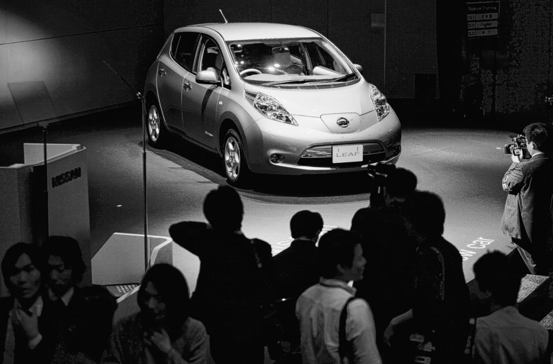 The Leaf, Nissan Motor Co.'s zero-emission electric car, is unveiled during a news conference Friday at the company s headquarters in Yokohama, Japan. There already have been 6,000 orders in Japan and 20,000 in the United States.