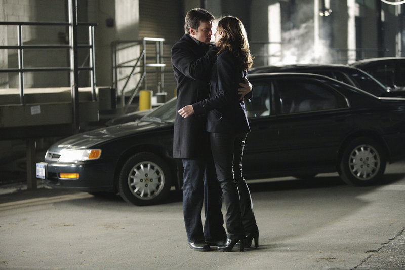 Nathan Fillion, as mystery writer Rick Castle, left, and Stana Katic, as Detective Kate Beckett, may be ready to go to the next romantic level after their first kiss for an upcoming show.