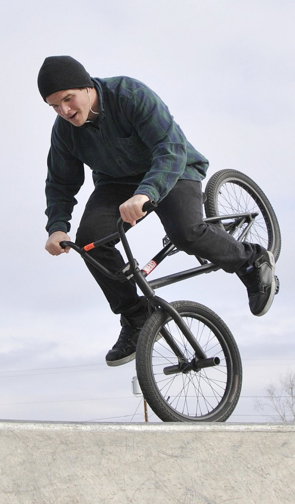 Illes Estes, 19, of Portland, balances on the front wheel of his BMX bike last Saturday at the new skatepark in Portland. The park has seen heavy use, especially on weekends, since it opened Nov. 20.