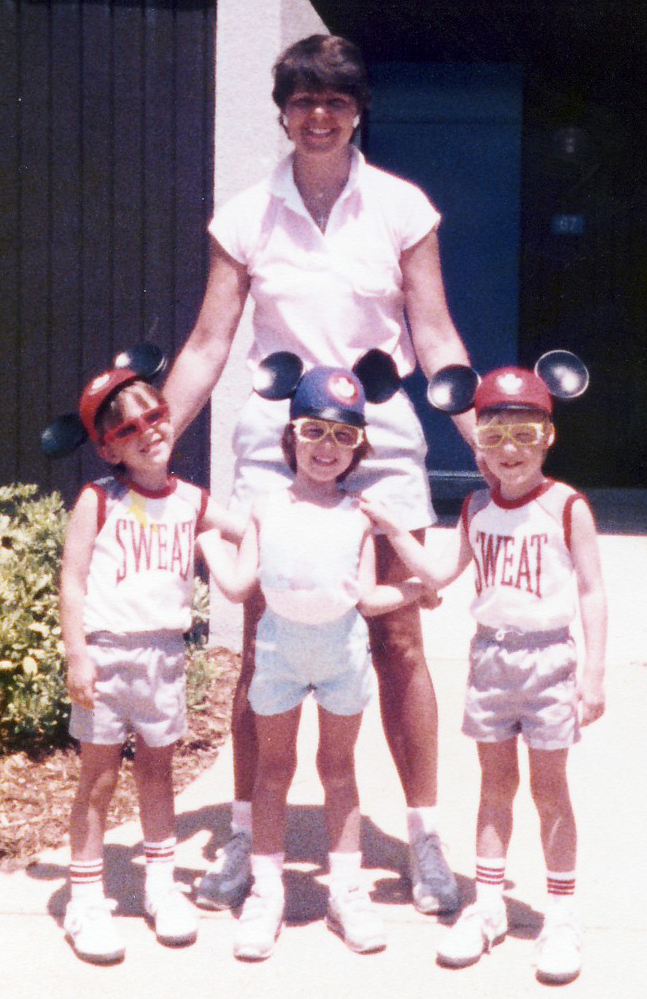Ms. Solebello poses with her triplets, Marc, Marlana and Kyle, in 1986.
