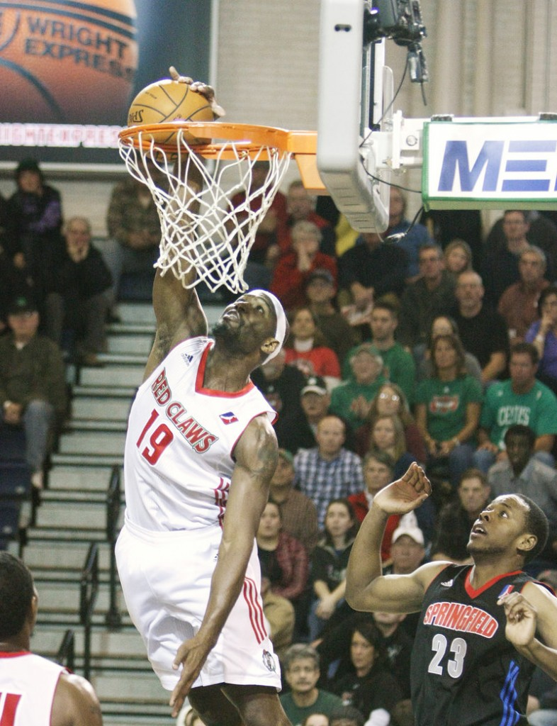 Maine's Mario West lays in a shot at the Expo. West had 14 points and three assists for the Red Claws (3-4).
