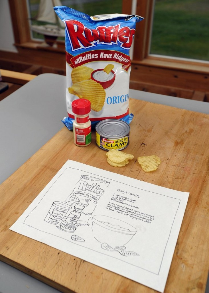 "Work in progress: Brenda Erickson's sketch of what will become a painting of ""Ginny's Clam Dip."""