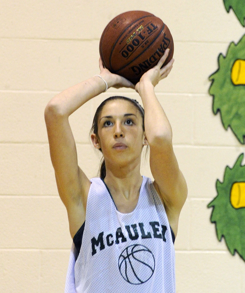 Alexa Coulombe is a strong inside presence for McAuley, averaging 5.2 blocks a game last season.