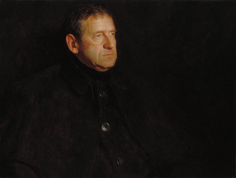 """Jamie Wyeth's 1969 oil painting, """"Portrait of Andrew Wyeth,"""" was purchased by an anonymous bidder at the Adelson Galleries in New York City."""