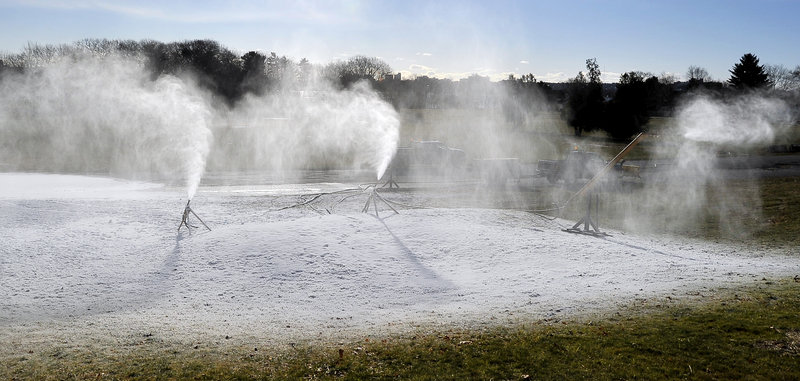 Three snow guns operate at full capacity in Portland's Payson Park on Wednesday. The free municipal terrain park was created in 2007 and is believed to be one of just three in the country. The new Wednesday in the Park program is scheduled to start Jan. 5, weather permitting.