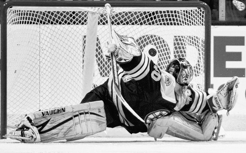 Tuukka Rask made 33 saves Thursday night for the Boston Bruins in a 5-2 victory against the New York Islanders, but was unable to stop Frans Nielsen on this penalty shot in the second period. Rask has a 2-6-1 record this season.