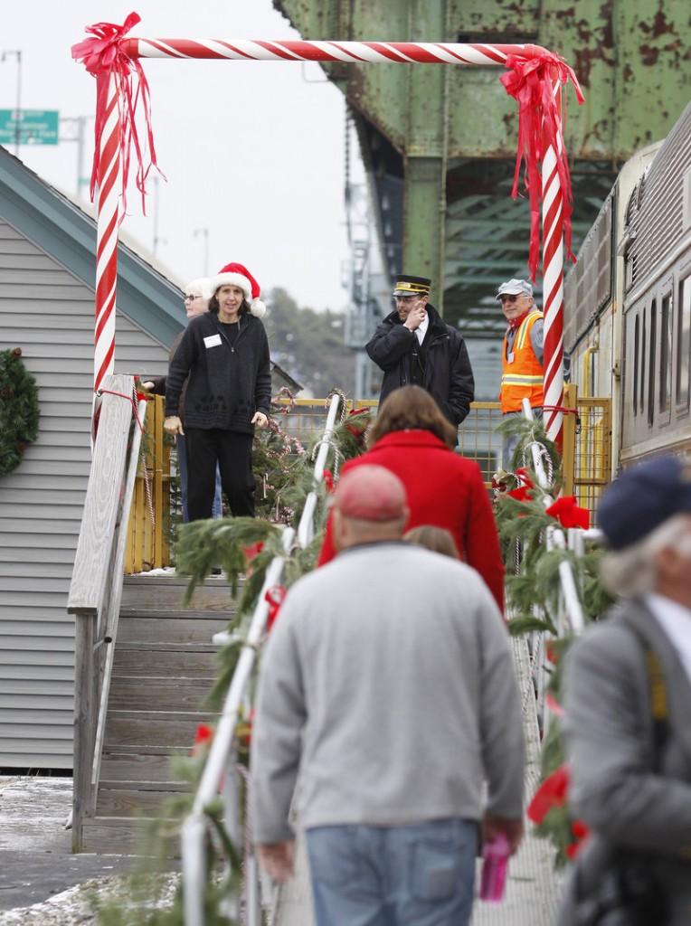 Passengers are greeted at the Bath station.