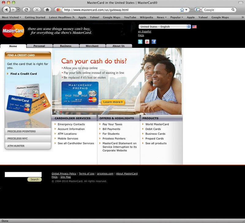 A screen shot taken Monday shows the home page of the Mastercard.com USA website. As WikiLeaks struggled to stay online, a small army of pro-WikiLeaks hackers took down the websites of Visa and MasterCard and slowed PayPal's down, but were unable to do any serious damage.