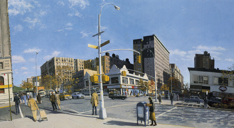 This Rackstraw Downes painting, which depicts 110th Street and Broadway in New York, is an example of Downes' highly realistic style and philosophy of paintng precisely what he sees. Downes won a MacArthur genius grant in 2009.