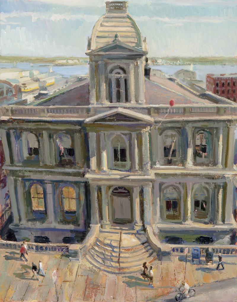 "Grant Drumheller's ""Customs House, Portland, Late Summer,"" oil on linen"