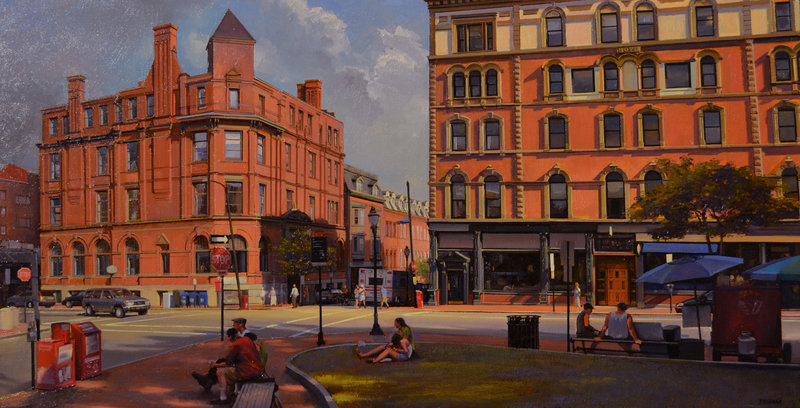 "Joel Babb's ""Middle and Exchange Streets, Portland,"" oil on linen"