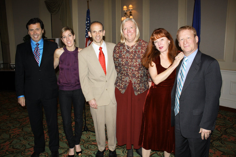 Gov. John Baldacci and his wife, Karen, center, with party hosts Robert and Elizabeth Baldacci, left, and Lynda Doyle and Ken Altshuler, at right, on Tuesday at the Marriott Sable Oaks in South Portland
