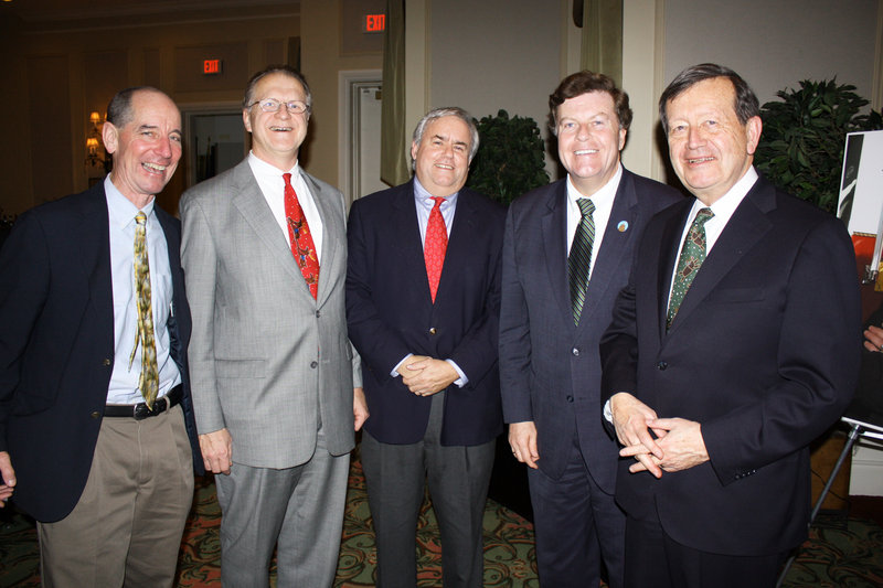 Attorney Jerry Conley Jr., attorney John Delahanty, Maine Home Mortgage President Tony Armstrong, state Sen. Barry Hobbins and attorney Severin Beliveau join in the gathering.