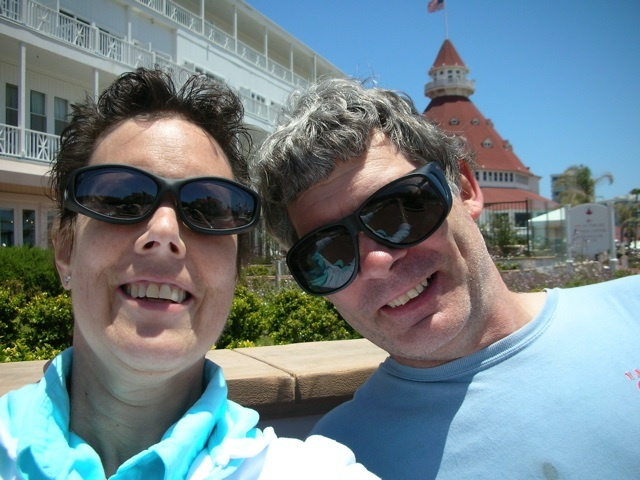Rinanne Rindi Martin-Weigel and her husband in front of the Hotel Del Coronado in San Diego in June 2010.