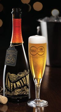 Infinium, a beer collaboration meant to be a sort of cross between a champagne, dessert wine and beer, is slightly sweet, smooth and silky with a light but spicy hit of hops.