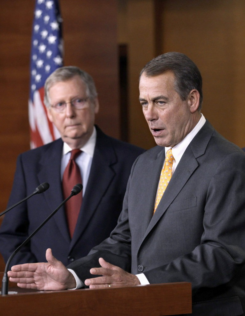 Incoming House Speaker John Boehner, right, and Senate Minority Leader Mitch McConnell discuss Republican plans for tax reform after the Nov. 2 election.