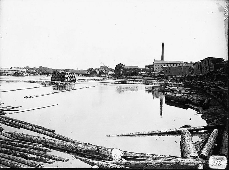 In a photo from 1909, the Diamond Match property can be seen on the Saco River in Biddeford. Officials hope to create an urban park here, and break ground by early spring.