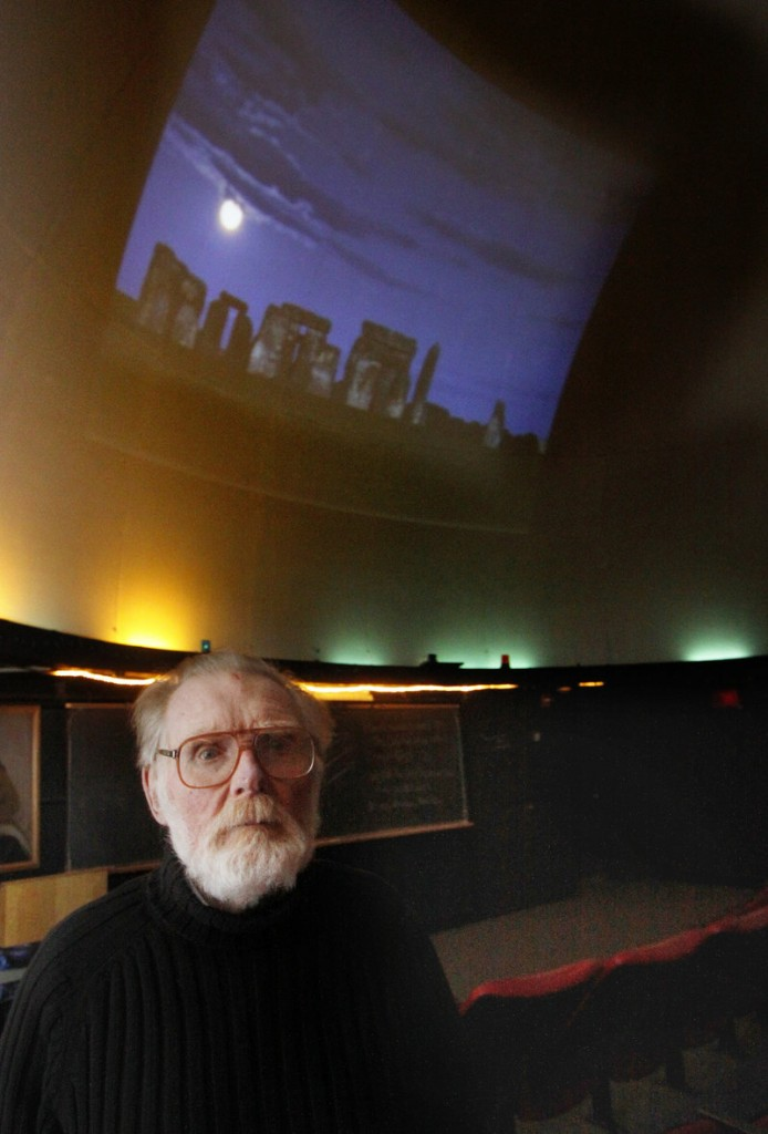 Patrick Peoples grew up near Stonehenge, shown in the slide on the planetarium dome.