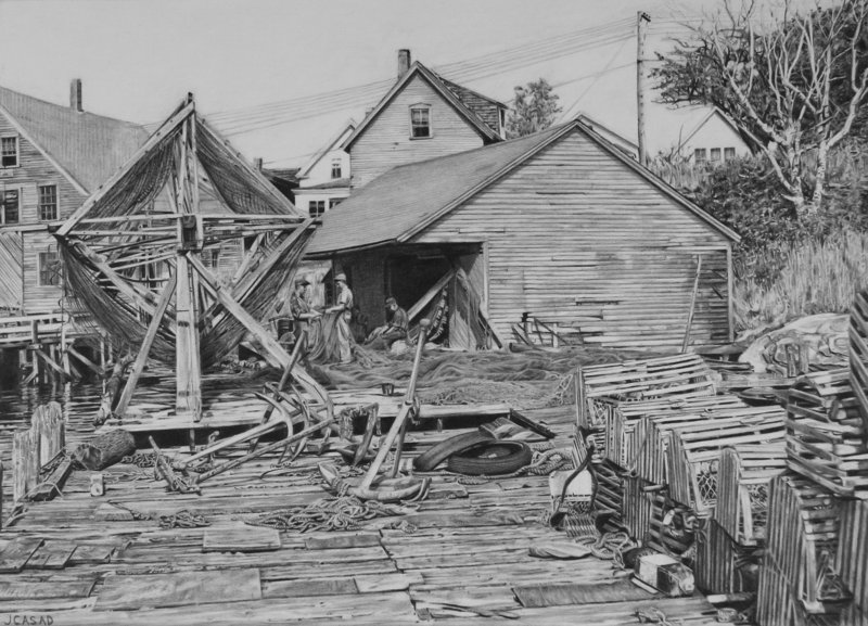 """Farrin's Wharf,"" 2005, pencil on illustration board"