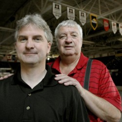 Pirates announcer Mark Jeanneret, front, will broadcast the Buffalo Sabres games against Calgary and Edmonton on an upcoming roadt rip because his father, Rick Jeanneret, is taking a break during the team's western swing.