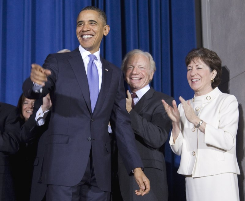 "Before signing the repeal of the military's ""don't ask, don't tell"" policy, President Obama is joined by the bill's sponsors, Sen. Joseph Lieberman, I-Conn., and Sen. Susan Collins, R-Maine."