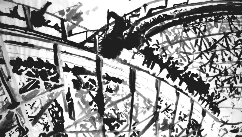 "Peter Precourt's ""Rollercoaster,"" sumi-e on paper"