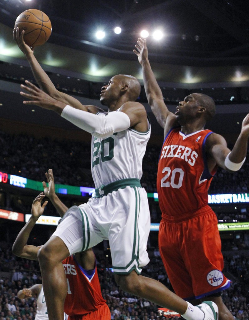 Ray Allen puts up a shot in front of Philadelphia's Jodie Meeks during the Celtics' 84-80 win Wednesday night. Allen scored 22 points to lead Boston.