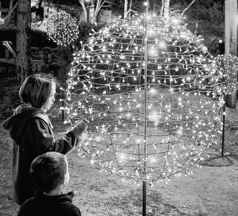 Children are fascinated by the light forms constructed by Pandora LaCasse for the L.L. Bean campus in Freeport.