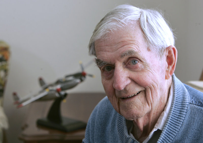 Fred Hargesheimer at his Grass Valley, Calif., home. A model of a World War II P-38 fighter is in the background.