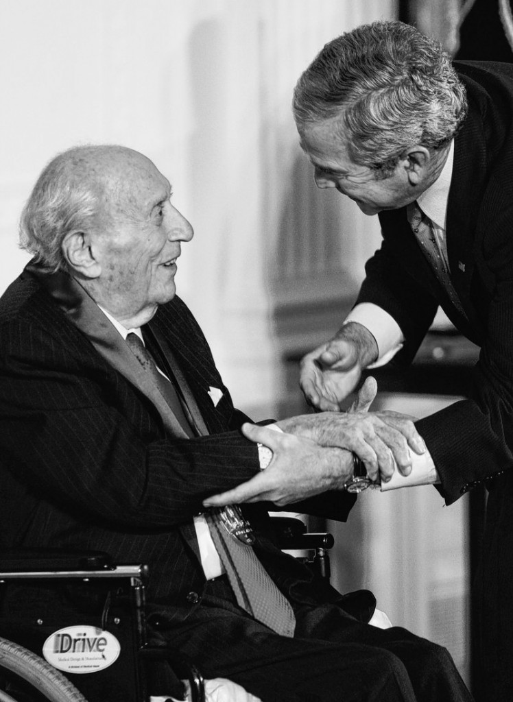 President Bush presents the 2007 National Medal of Arts to patron Roy R. Neuberger to honor his support of modern art.