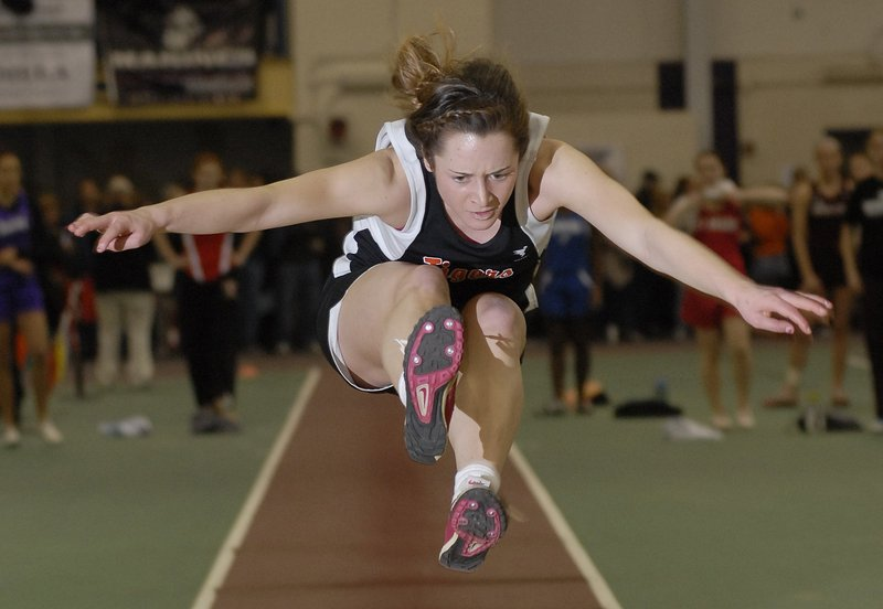 Maria Curit, a junior at Biddeford, holds the Class A record in the long jump, with a mark of 17 feet, 6 1/2 inches.