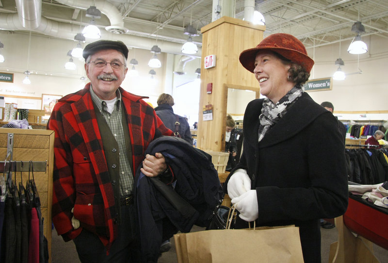 Arnie and Nancy Roy of Turner check out the bargains at the L.L. Bean Outlet after exchanging a hat at Bean's flagship store in Freeport on Sunday.