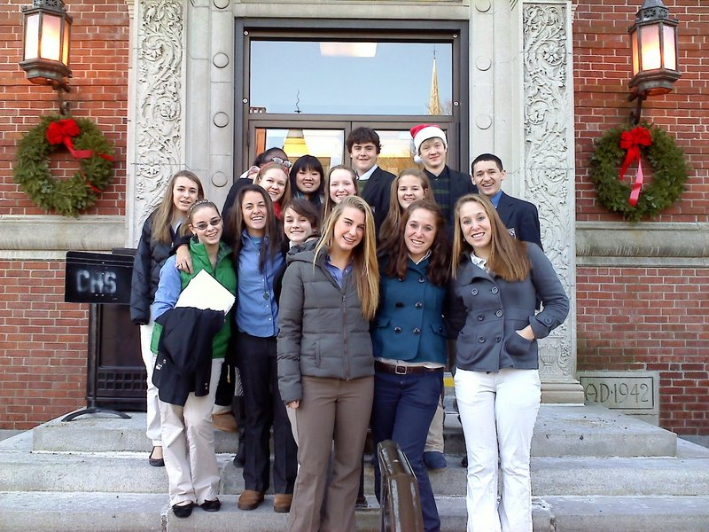 Carolers from Cheverus High School sang at Mercy Hospital.