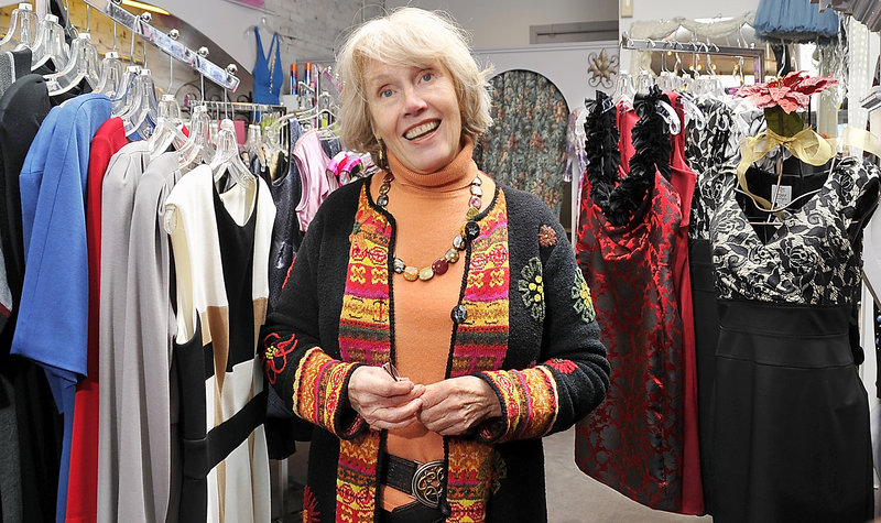 "Judith Parker, owner of Tavecchia on Exchange Street: ""The holidays aren't like the good old days. Christmas used to be what I would call 'flying tissue (paper).' But people have adjusted to not spending the way they used to."""
