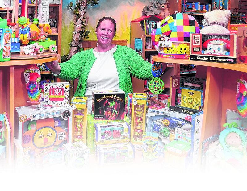 Alison Tostevin, manager of Treehouse Toys on Exchange Street, says parents are reluctant to cut back on kids.