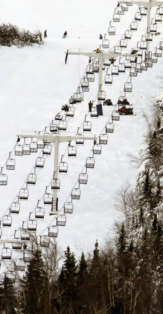 The Spillway East chairlift, shown Wednesday, remains closed as work and evaluation continues at Sugarloaf Mountain in Carrabassett Valley.