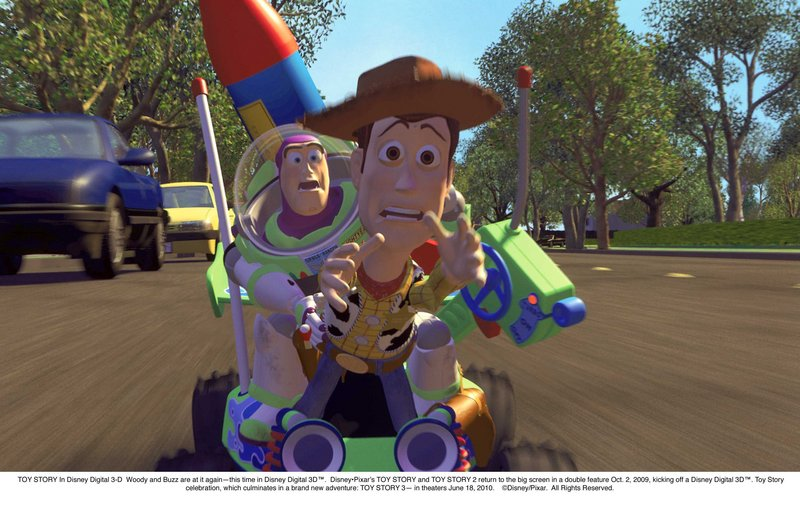 "Woody (voiced by Tom Hanks) and Buzz (voiced by Tim Allen) appear in ""Toy Story 3,"" one of the past year's 3-D movies, with images that appear to pop out of the screen, that moviegoers paid higher prices to see in 2010."